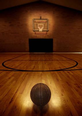 Basketball And Basketball Court Art Print