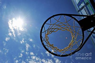Basketball Hoop And The Sun Art Print by Sami Sarkis