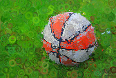 Digital Art - Basketball Orange White Green Abstract by Geoff Strehlow