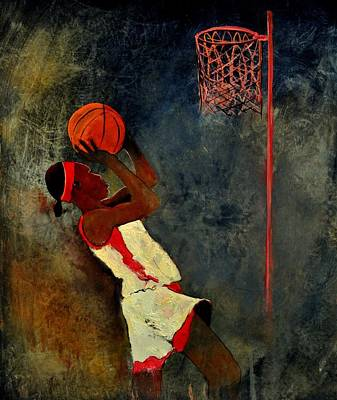 Sports Paintings - Basketball Player by Pol Ledent