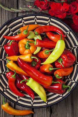 Basketful Of Peppers Art Print by Garry Gay