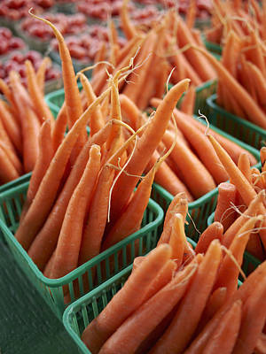 Y120817 Photograph - Baskets Of Carrots At St Jacob's Farmers' Market, St Jacobs, Ontario, Canada by Michael Alberstat
