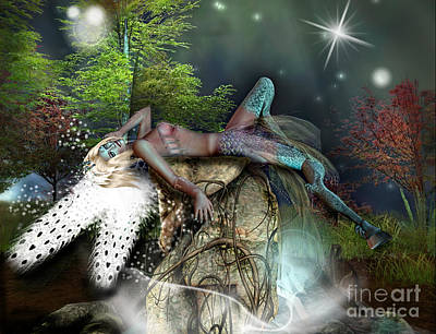 Angel Mermaids Ocean Digital Art - Basking In The Moonlight by Georgina Hannay