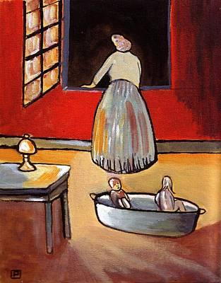 Folk Art Mixed Media - Bath Night by Peter  McPartlin