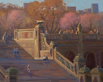 Bathesda Stairway Central Park Print by Marianne Kuhn