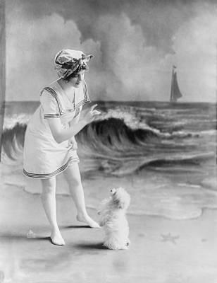 Bathing Beauty, Young Woman In Bathing Art Print by Everett