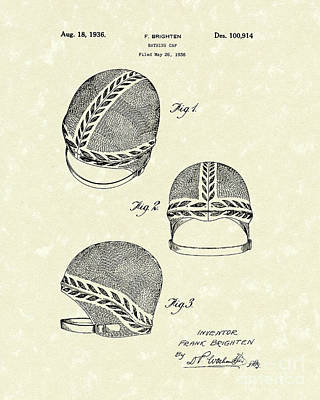 Protection Drawing - Bathing Cap 1936 Patent Art by Prior Art Design