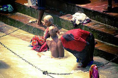 Ashram Wall Art - Photograph - Bathing In Holy Ganges by John Battaglino