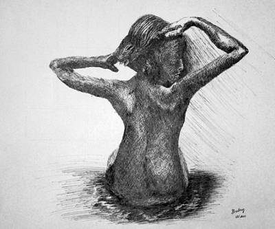 Drawing - Bathing by Shelley Bain