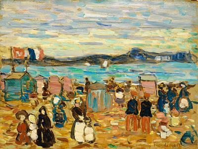 Ashcan School Painting - Bathing Tents St. Malo by Maurice Brazil Prendergast