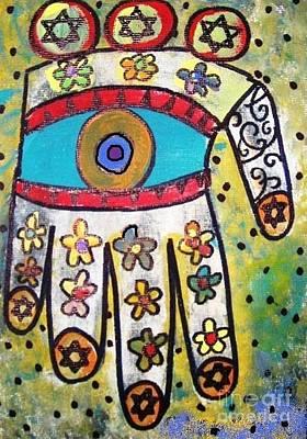 Hamas Painting - Batik Ivory Flower Hamsa by Sandra Silberzweig