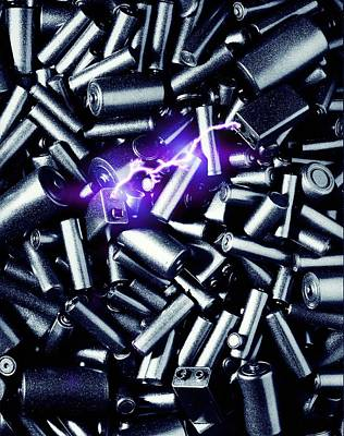 Fusing Photograph - Batteries Sparking by Richard Kail