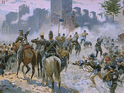 Infantry Painting - Battle Of Solferino And San Martino by Italian School
