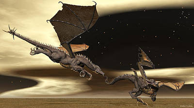 Digital Art - Battle Of The Dragons by Walter Colvin