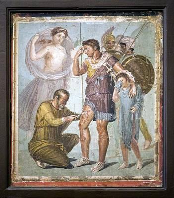 Battle Wounds Of Aeneas, Roman Fresco Art Print by Sheila Terry