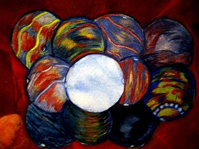 Copper Beads Painting - Baubles And Beads by Marian Hebert