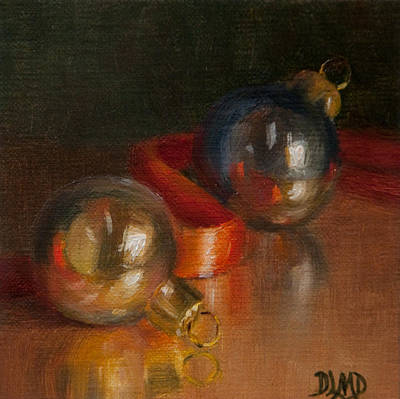 Painting - Baubles And Ribbon by Debbie Lamey-MacDonald