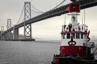 Fireboat Photograph - Bay Bridge And Fireboat In The Rain by Jarrod Erbe