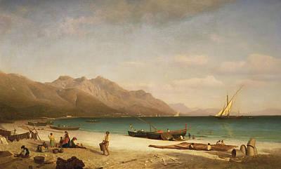 Amalfi Painting - Bay Of Salerno by Albert Bierstadt