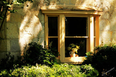 Photograph - Bay Window With Vase Of Flowers by Sarah Broadmeadow-Thomas
