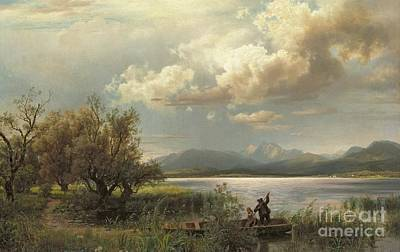 Boats In Water Painting - Bayern Landscape by Augustus Wilhelm Leu