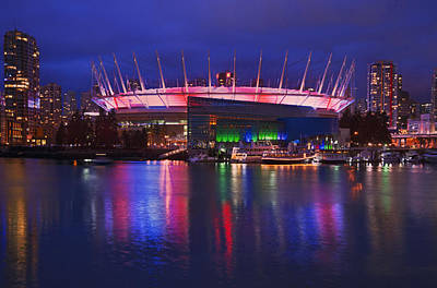 Vancouver Night Scene Photograph - Bc Place Stadium Lit Up At Night by Marlene Ford