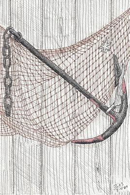 Beach Anchor And Net. Art Print by Calvert Koerber
