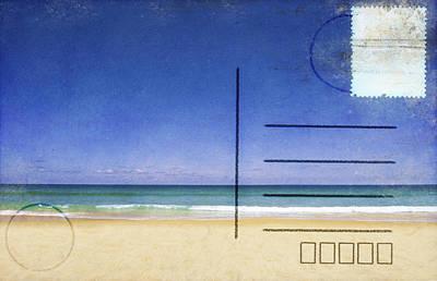 Message Art Photograph - Beach And Blue Sky On Postcard  by Setsiri Silapasuwanchai