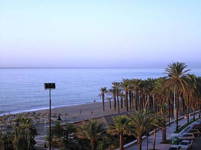 Photograph - Beach And Palm Trees At Costa Del Sol Spain. by John Shiron