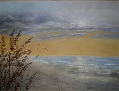 Footprints In The Sand Painting - Beach At Dawn by Kathleen McDermott