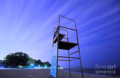 Beach At Night Art Print by Charline Xia