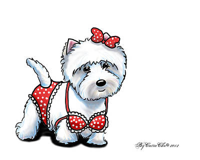 Mixed Media - Beach Babe Westie by Catia Lee