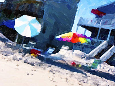 Umbrellas Digital Art - Beach by Betsy Knapp