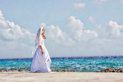 Digital Art - Beach Bride by Carrie OBrien Sibley