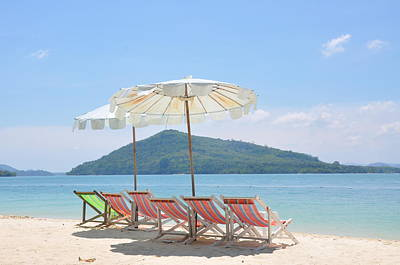 Phuket Photograph - Beach Chair And Umbrella On Beach by Eustaquio Santimano