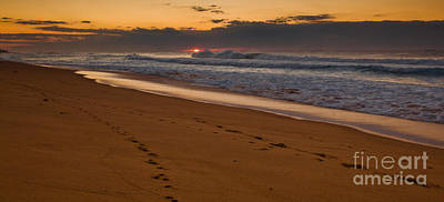 Stock Photograph - Beach Footsteps At Dawn by John Buxton