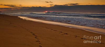 Beach Footsteps At Dawn Art Print by John Buxton