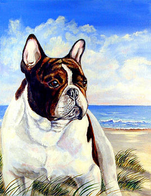 Beach Frenchie - French Bulldog Art Print by Lyn Cook