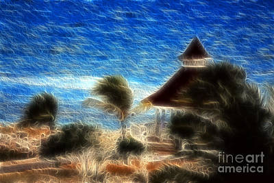 Jamaica Mixed Media - Beach Gazebo Jamaica by Marjorie Imbeau
