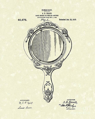 Mirror Drawing - Beach Hand Mirror 1910 Patent Art by Prior Art Design