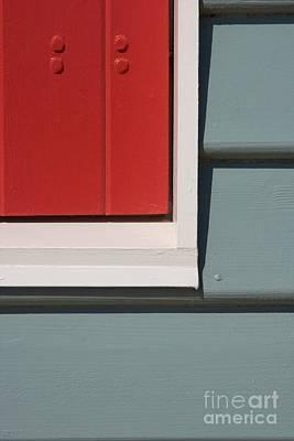 Beach House - Red Gray White Art Print by Hideaki Sakurai