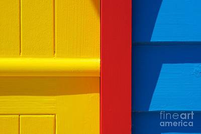 Beach House - Yellow Blue With Red Line IIi Art Print