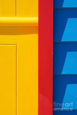 Brighton Beach Photograph - Beach House - Yellow Blue With Red Line V by Hideaki Sakurai