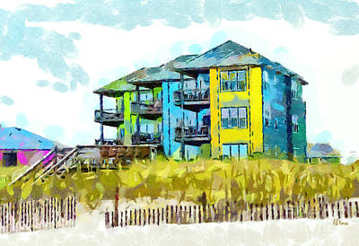 Sand Fences Drawing - Beach House At The Outer Banks by Anne Kitzman