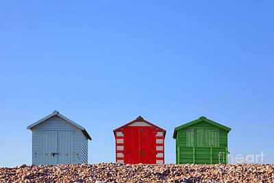 Cubicle Photograph - Beach Huts And Blue Sky by Richard Thomas