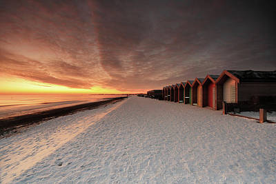 Cold Temperature Photograph - Beach Huts In Snow At Blyth by Tom Hill