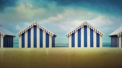 In A Row Photograph - Beach Huts by Quicksil7er