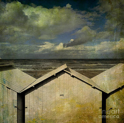 Little Cabin Photograph - Beach Huts Under A Stormy Sky. Vintage-look. Normandy. France by Bernard Jaubert