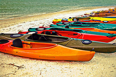 Art Print featuring the photograph Beach Kayaks by Susan Leggett