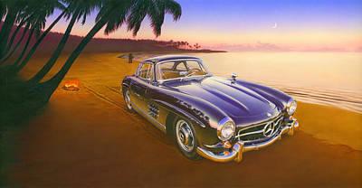 Beach Mercedes Art Print by Andrew Farley